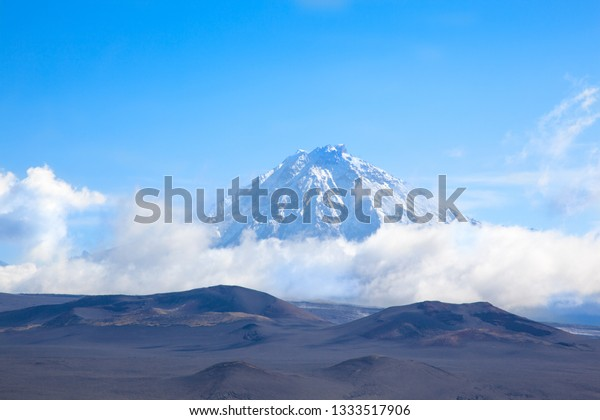 crater of a volcano.  peak of Tolbachik volcano at day. Kamchatka. Russia