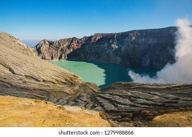 Cratere of Kawah Ijen volcano and its blue acid lake, Java island, Indonesia