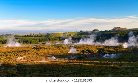 Craters of the Moon geothermal landscape in Taupo, New Zealand