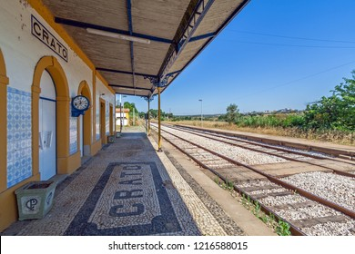 Crato, Portugal - September 11, 2017: Deactivated train station of Crato. One of the many deactivated stations in the interior of Portugal. Alto Alentejo