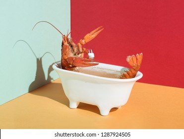 Crawfish in a bath of champagne in color interiour