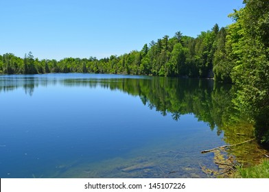 Crawford Lake, one of the few meromictic lakes around the world,  highlight of the Crawford Lake Conservation Area, south of Milton, Ontario Canada