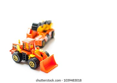 Crawler Dozer and Wheel loader toy isolated on white background