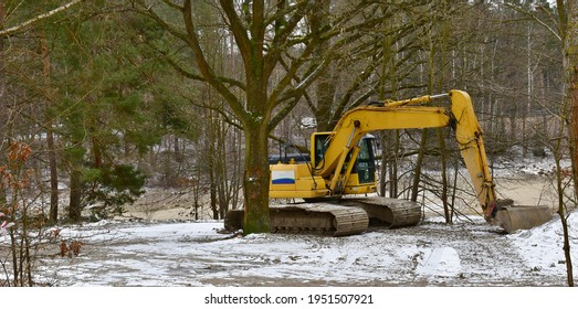 crawler excavator parked in the forest among the trees, South Bohemia, Czech Republic