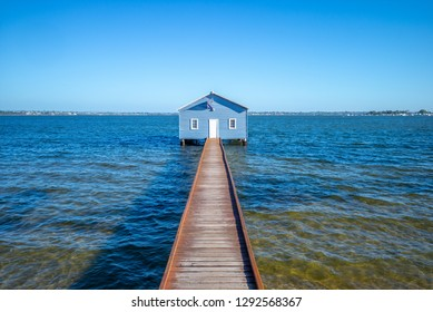 Crawley Edge Boatshed, blue boat houes in perth