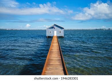Crawley Edge Boatshed, blue boat houes in perth, western australia