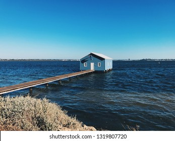 Crawley Edge Boatshed blue house in Perth
