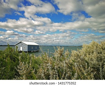 Crawley Edge Boatshed-Blue Boat House, Perth, Australia