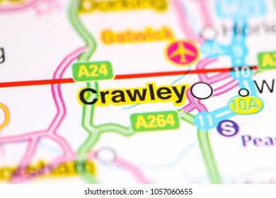 Crawley. United Kingdom on a map