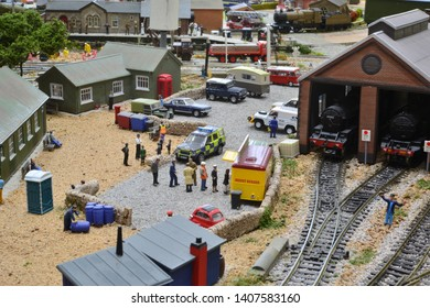 Crawley, West Sussex/ United Kingdom-May 24 2019: A model railway in OO scale