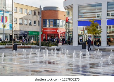 CRAWLEY, WEST SUSSEX/UK - NOVEMBER 21 : View of the main square in Crawley West Sussex on November 21, 2018. Unidentified people.