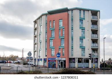 CRAWLEY, WEST SUSSEX/UK - NOVEMBER 21 : Modern Tower b;ock in Crawley West Sussex on November 21, 2018. Four unidentified people