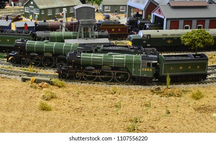 Crawley, West Sussex/United Kingdom- June 5 2018: Model of an A3 steam locomotive with a gloss finish