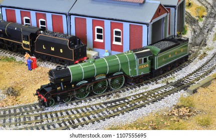 Crawley, West /United Kingdom- June 5 2018: Model of an A3 steam locomotive with a gloss finish