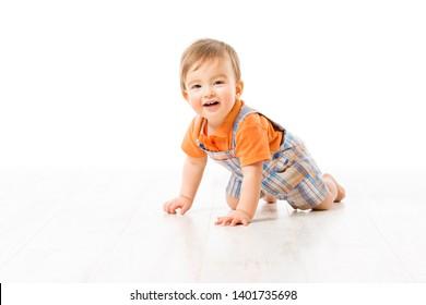 Crawling Baby, Infant Kid Crawl on white floor, Happy One year old Child