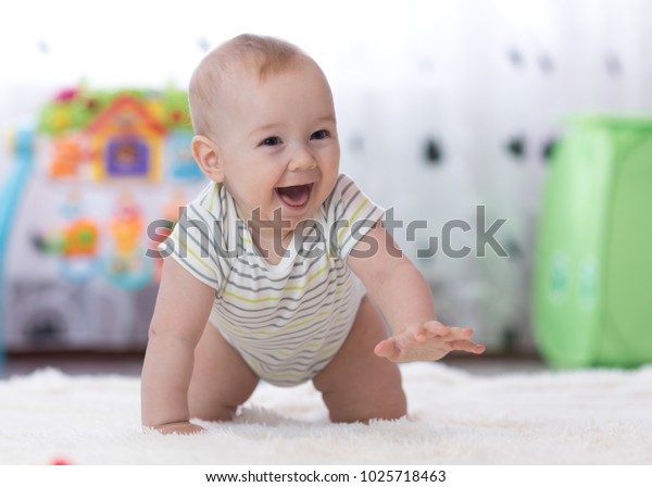 Crawling Funny Baby Boy Nursery Home Stock Image Download Now