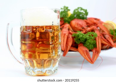 Crayfish with beer on a neutrall background