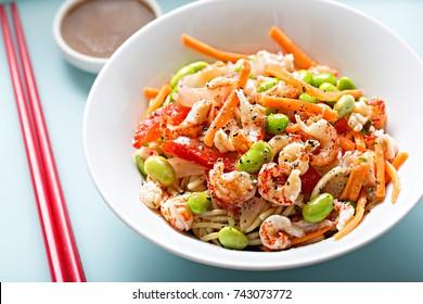 Crayfish edamame carrot noodle salad with dressing