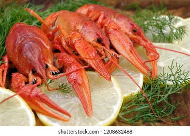 crayfish and lemons on a wooden table