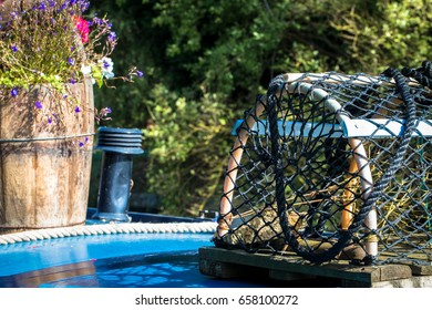 Crayfish / Lobster Pot on Boat with Floral Background