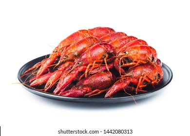 Crayfish. a plate of cooked crayfish