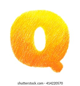 Crayon alphabet isolated on white background. Letter Q. Hand drawn illustration.