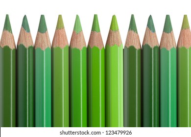 crayon, crayons, green, isolated, background, white, color, wooden, pencil, colorful, hue, tint, tone, shade, art, assortment, closeup, equipment, object, colour, draw, drawing,