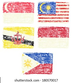 Crayon draw of south east Asia country national flag