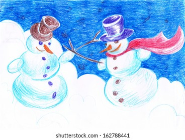Crayon drawing Snowman fencing duel