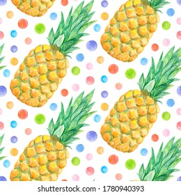Crayon pineapple with leaves seamless pattern. Hand drawn artistic fruit repeatable background with pastels. Cute Colorful stylish illustration for backgrounds, textiles, tapestries.
