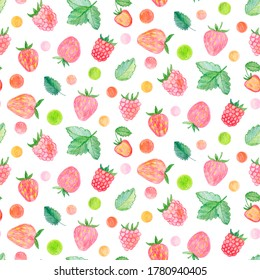 Crayon raspberry and strawberry  with leaves seamless pattern. Hand drawn artistic berry repeatable background with pastels. Cute Colorful stylish illustration for backgrounds, textiles, tapestries.