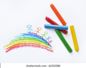 Crayons and kids drawing on white background