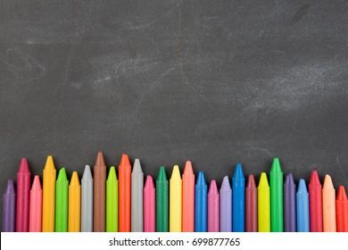 crayons on the blackboard