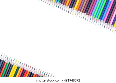 crayons on white background isolated copy space photo