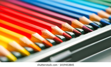 Crayon,Stacked colored pencils in box