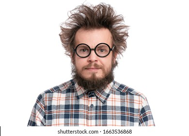 Crazy Bearded Man in Eyeglasses, isolated on white background. Happy Guy in plaid shirt with funny Haircut, smiling and looking at camera. Emotions and signs concept