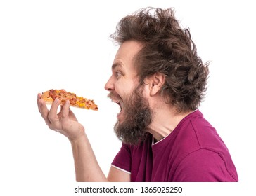 Crazy Bearded Man with funny Haircut. Happy Hungry man Eating Pizza, isolated on white background.