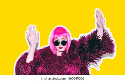 Crazy beautiful hot rock Girl in Acid bright pink wig and sunglasses in lama leather swag style red fur winter coat. Dangerous rocky emotional tired of party bored woman Ironically having fun.