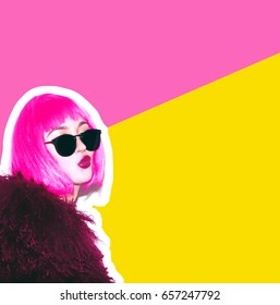 Crazy beautiful rock Girl in Acid bright pink wig and sunglasses in lama leather swag style red fur coat. Dangerous rocky tired of party bored woman Ironically having fun. White background exclusive.