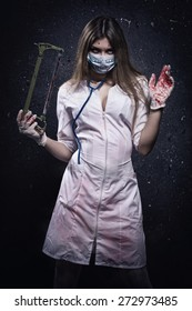 Crazy bloody nurse in a dark room