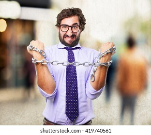 crazy businessman angry expression