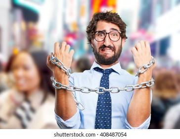 crazy businessman sad expression