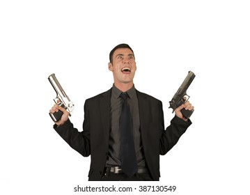 Crazy businessman in suit holding two guns