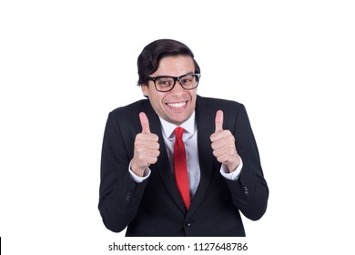 Crazy businessman thumbs up excitedly in a creepy way, isolated on a white background.