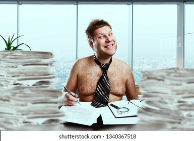Crazy businessman in tie on the naked body