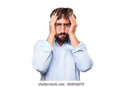 crazy businessman worried expression