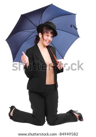 be0adfa80fc Crazy Businesswoman Bowler Hat Umbrella Stock Photo (Edit Now ...