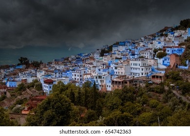 A crazy cloud over the beautiful city of Chefchaouen, Morocco.