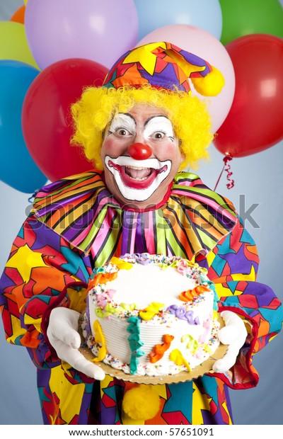 Strange Crazy Clown Balloons Holding Birthday Cake Stock Photo Edit Now Funny Birthday Cards Online Alyptdamsfinfo
