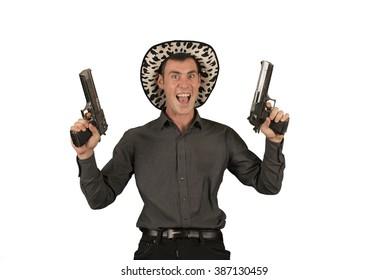 Crazy cowboy holding two guns